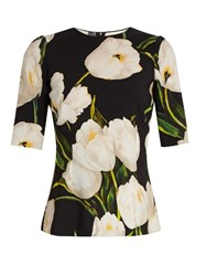 Dolce And Gabbana Tulip Print Crepe Top White Multi