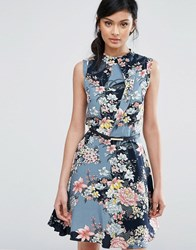 Oasis Floral Print High Neck Belted Skater Dress Multi