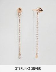 Asos Gold Plated Sterling Silver Spike Chain Earrings Gold Plated