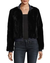 Belle Fare Zip Front Rabbit Fur Jacket Black Navy