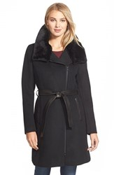Women's Soia And Kyo 'Elma' Belted Wool Blend Coat With Removable Faux Fur Trim