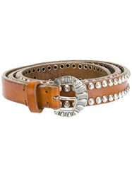 Golden Goose Deluxe Brand Studded Buckled Belt Leather Brown