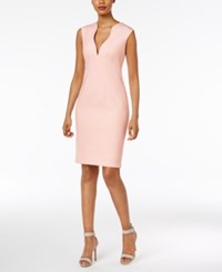 Calvin Klein Scalloped V Neck Sheath Dress Blossom