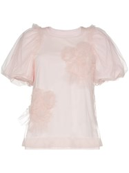 Simone Rocha Floral Embellished Tulle T Shirt Pink