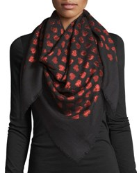 Gucci Alur Metallic Heart Woven Shawl Black Red