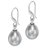 Dower And Hall Baroque Pearl Drop Earrings Silver Grey