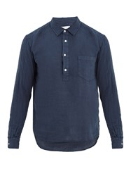 Solid And Striped Popover Half Button Linen Shirt Navy