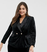 Lovedrobe Velvet Suit Blazer Black