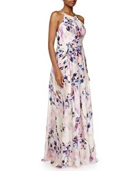 Phoebe Couture Phoebe Sleeveless Floral Pleated Gown Pink Multicolor