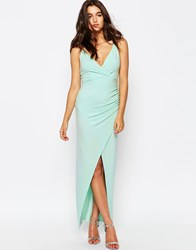 Asos Wrap Ruched Skinny Strap Maxi Dress Mint