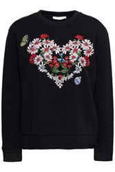 Maje Embroidered Woven Sweatshirt Black