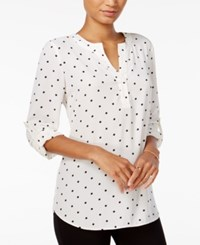Maison Jules Polka Dot Roll Tab Sleeve Blouse Only At Macy's Egret Combo