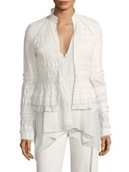 Josie Natori Peplum Layered Hem Jacket Warm White