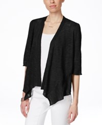 Alfani Linen Blend Open Front Cardigan Only At Macy's Deep Black