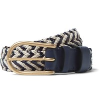 Loewe 3.5Cm Woven Leather And Linen Belt Navy