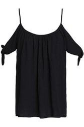 Bailey 44 Off The Shoulder Knotted Ruched Crepe Top Black