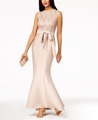R And M Richards Sequined Lace Top Mermaid Gown Rose Gold