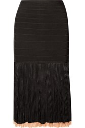 Herve Leger Ribbed Knit And Bandage Skirt Black