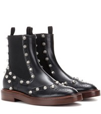 Balenciaga Embellished Leather Chelsea Boots Black