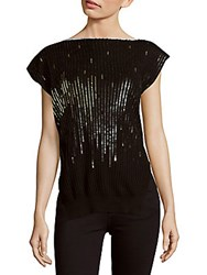 Jil Sander Boatneck Sequined Top Black