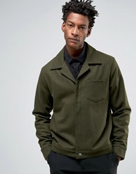 Asos Wool Mix Military Jacket With Chest Pocket In Khaki Khaki Green