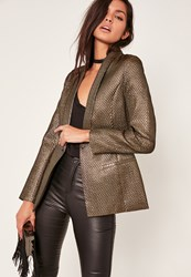 Missguided Gold Metallic Textured Blazer