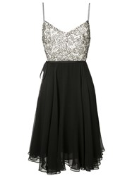 Monique Lhuillier Lace Bodice Dress Women Silk 8 Black