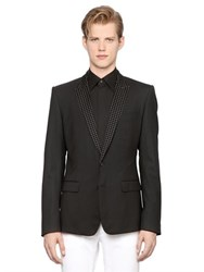 Dolce And Gabbana Martini Jacquard Stretch Wool Jacket