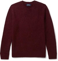 Polo Ralph Lauren Suede Elbow Patch Wool And Cashmere Blend Sweater Merlot
