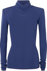 Unravel Project Ruched Stretch Jersey Turtleneck Top Navy