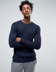 Selected Cable Knitted Jumper Navy