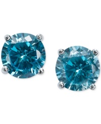 B. Brilliant Blue Cubic Zirconia Stud Earrings In Sterling Silver 2 Ct. T.W.