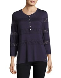 Karl Lagerfeld Lace Trimmed Henley Shirt Blue