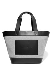 Alexander Wang Leather Trimmed Woven Canvas Tote Gray