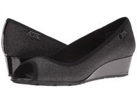 Anne Klein Camrynne Black Combo Fabric Women's Wedge Shoes