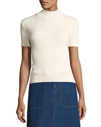 A.P.C. Mina Ribbed Short Sleeve Sweater White