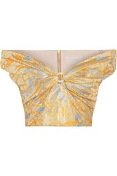 Peter Pilotto Off The Shoulder Cropped Metallic Jacquard Top Gold