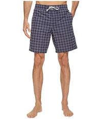 Lacoste All Over Gingham Print Long Length Navy Blue White Men's Swimwear