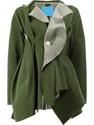 Undercover Gathered Detail Coat Nylon Wool Green