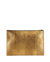 Tom Ford Metallic Python Zip Pouch Anthracite Gray