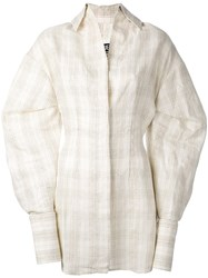 Jacquemus Checked Shirt Dress Women Silk Cotton Linen Flax Polyester 36 Nude Neutrals