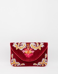 Moyna Envelope Clutch Bag In Oxblood With Embroidery Wine