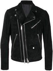 Les Hommes Zipped Fitted Biker Jacket Black