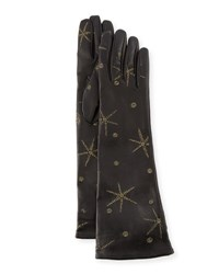 Valentino Antique Star Embroidered Leather Gloves Black