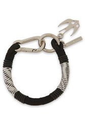 Mcq By Alexander Mcqueen Woman Swallow Silver Tone Braided Cord And Leather Bracelet Black