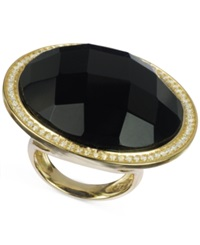 Macy's Black Onyx 30 Ct. T.W. And Cubic Zirconia Ring In 14K Gold Over Sterling Silver