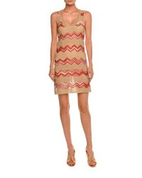 Missoni Zigzag Sleeveless Scoop Neck Dress Gold Red Multi