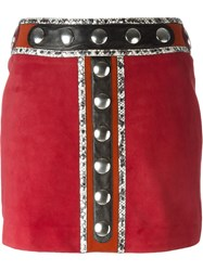 Roberto Cavalli Embellished Mini Skirt Red