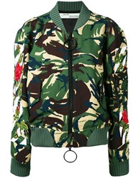 Off White Camouflage Bomber Jacket Green