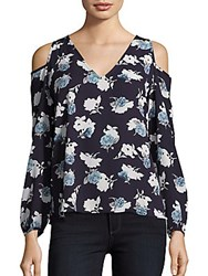 Collective Concepts Floral Print Cold Shoulder Top Navy